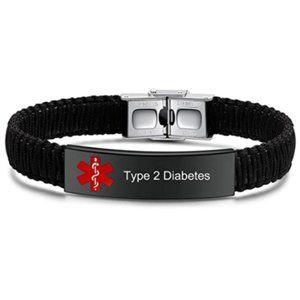 Type 2 Diabetes Medical ID Alert Bracelet